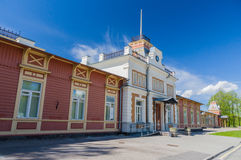 老葡萄酒火车站在哈普沙卢 免版税库存图片