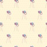 老葡萄酒照相机无缝的背景。传染媒介例证。海 图库摄影