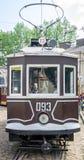 老葡萄酒电车车库的萨诺克SW-1在集中处在利沃夫州 免版税图库摄影