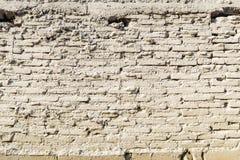老葡萄酒白色砖墙纹理背景 免版税库存照片