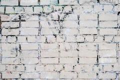 老葡萄酒肮脏的白色砖墙 库存图片