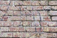 老葡萄酒肮脏的砖墙,表面特写镜头背景  墙壁五颜六色的难看的东西纹理有削皮膏药的,拷贝 库存照片