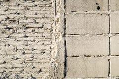 老葡萄酒脏的白色砖墙纹理背景 库存图片