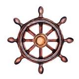 老葡萄酒船` s轮子 您的设计装饰的海洋题材  库存例证