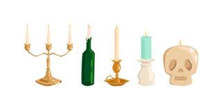 老葡萄酒蜡烛 库存例证