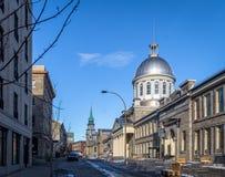 老蒙特利尔和Bonsecours市场-蒙特利尔,魁北克,加拿大 免版税库存照片