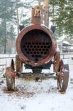 老蒸汽机车在俄国交通博物馆 库存图片