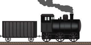 老蒸汽机车扯拽沿铁路的无盖货车 图库摄影