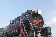 老蒸汽机车特写镜头 免版税图库摄影