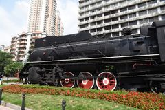 老蒸汽机车,乡愁,有很多年龄 免版税库存照片