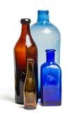 老蓝色和棕色瓶的构成 免版税库存照片
