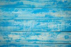 老蓝色木板条土气破旧的水平的背景 免版税库存图片