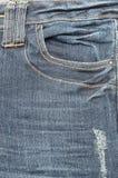老蓝色牛仔裤口袋特写镜头 免版税库存图片