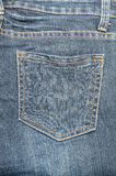 老蓝色牛仔裤口袋特写镜头 图库摄影