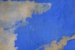 老蓝色绘了破裂的具体葡萄酒纹理墙壁backgroun 免版税库存图片