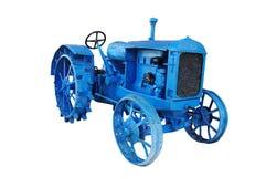 老蓝色葡萄酒拖拉机 免版税库存照片