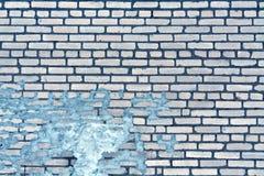 老蓝色被定调子的被风化的砖墙纹理 库存图片