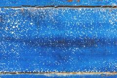 老蓝色被绘的破旧的木板纹理背景 免版税库存照片