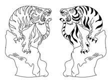 老虎传染媒介在白色背景的纹身花刺设计 库存图片