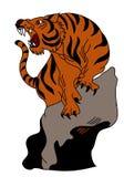 老虎传染媒介在白色背景的纹身花刺设计 库存照片