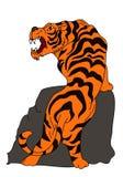 老虎传染媒介在白色背景的纹身花刺设计 图库摄影