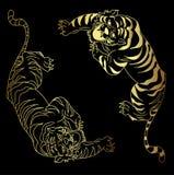 老虎传染媒介在黑背景的纹身花刺设计 库存图片