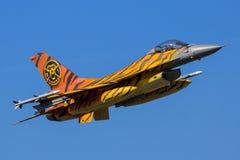 老虎军用F-16战斗机航空器 免版税库存图片