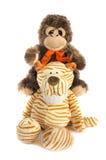 老虎和猴子玩具 图库摄影