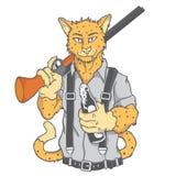 老虎猎人和射击枪 免版税库存图片