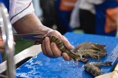 老虎由厨师的大虾切口 库存图片