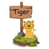 老虎的动物字母表信件T 免版税库存照片