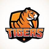 老虎盾体育吉祥人模板 Premade橄榄球或篮球补丁设计 学院同盟权威,高中 皇族释放例证
