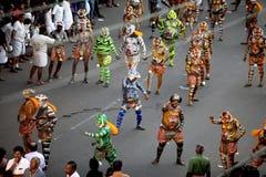 老虎舞蹈队伍 库存照片