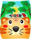 老虎逗人喜爱在狂放的背景中 库存图片