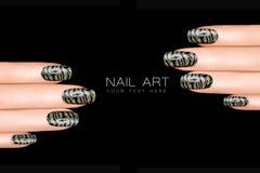 老虎钉子艺术 与动物印刷品的指甲油贴纸 库存照片