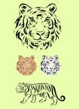 老虎集合装饰品 库存图片