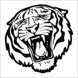 老虎顶头剪影 向量例证