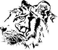 老虎顶头剪影。 向量例证