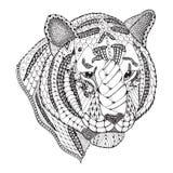 老虎顶头zentangle传统化了,导航,例证,样式, fr 免版税库存照片
