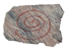 老螺旋刻在岩石上的文字 库存照片