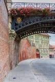 老街道在锡比乌,罗马尼亚 库存照片