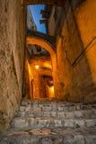 老街道在马泰拉 免版税库存照片