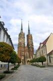 老街道城镇wroclaw 免版税库存照片