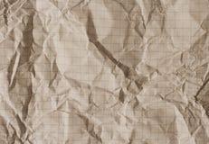 老被弄皱的方格纸 库存照片