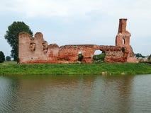 老被放弃的城堡在村庄Besiekiery在没有责任人的波兰 免版税库存照片