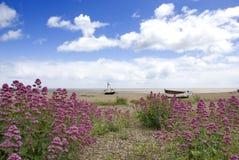 老被放弃的海滩小船 免版税库存照片