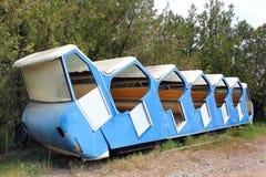 老被放弃的缆索铁路的车在第比利斯,乔治亚 库存图片
