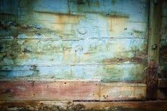 老被放弃的船船身抽象特写镜头  免版税库存照片