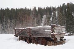 老被放弃的采煤车在冬天森林里 库存图片