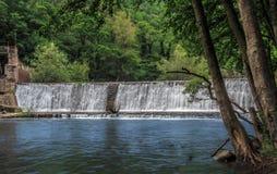 老被放弃的水坝在森林里 免版税库存图片